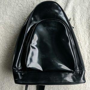 Gucci Vintage Black Glossy Sling Bag